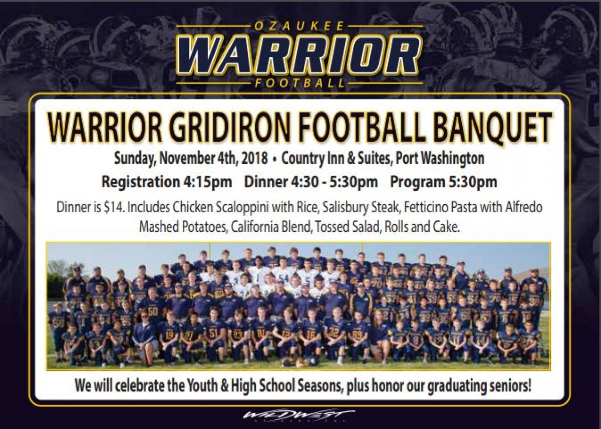 Register for November 4th Football Banquet by October 26th
