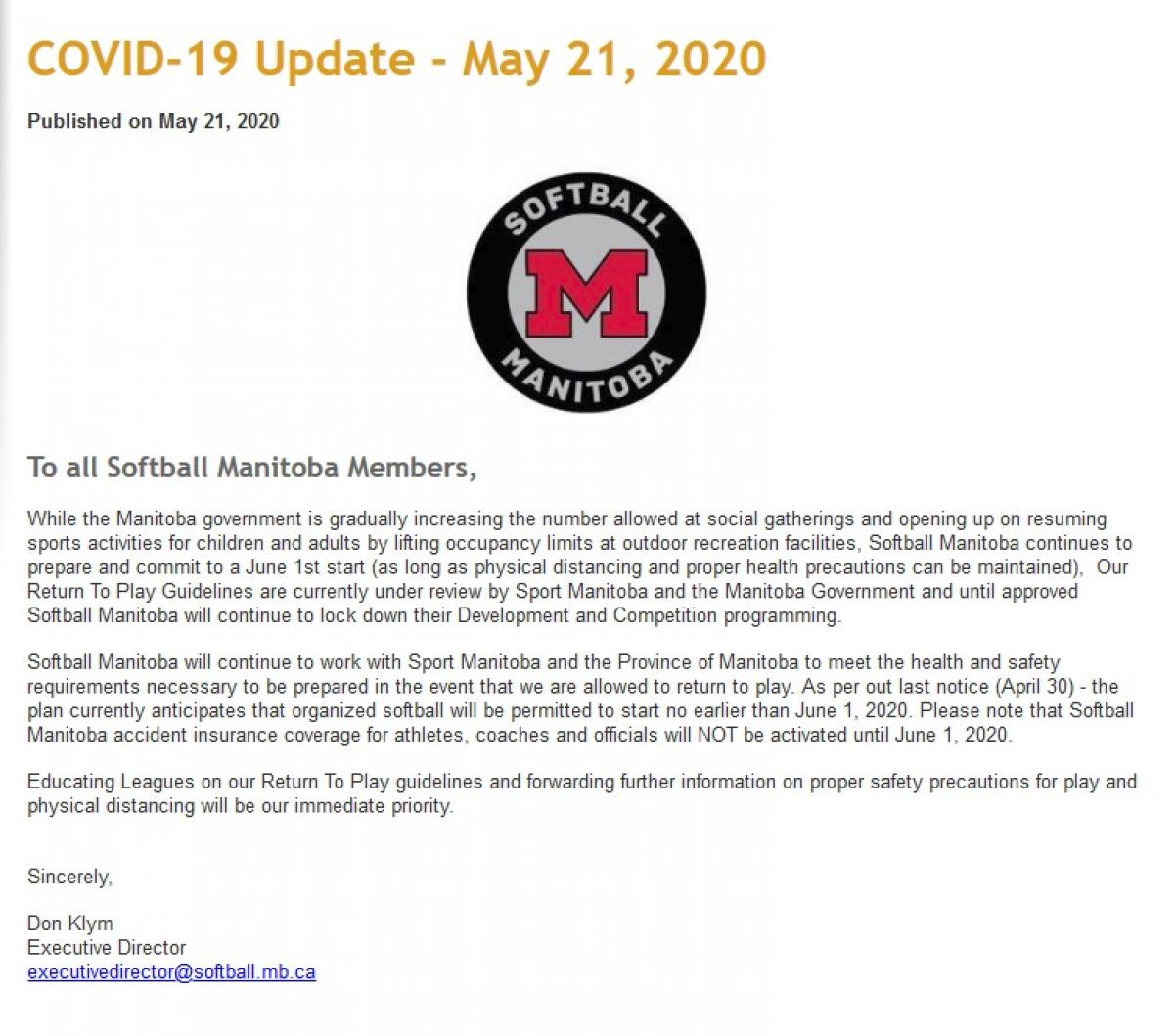 Softball MB Update